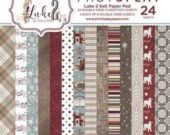 6 x 6 Paper Pad ~ Luke 2 Christmas ~ Double sided  NEW  (#2507)