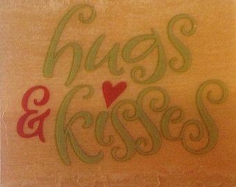Hugs & Kisses Stamp --   NEW  -- Wood Mounted Rubber Stamp --  Rubber Stampede Brand --   (#916)