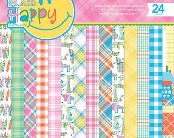 6 x 6 Paper Pad ~ Mad 4 Plaid Happy ~ Double sided NEW (#2761)