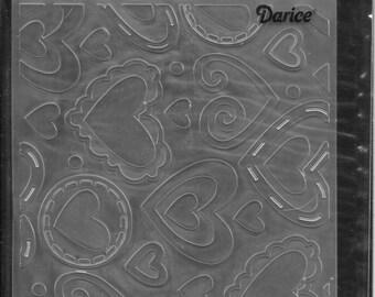 Darice Embossing Folder -- New -- Layered Hearts -- (#3038)