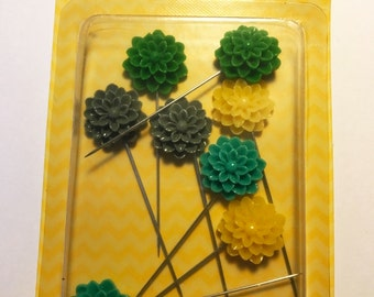 Sugar Picks  -- Resin Flower Pins --  Sunshine --  8 pieces  --  NEW   (#1992)