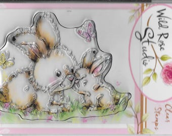 Wild Rose Studio Clear Stamp -- NEW -- Spring Bunnies -- (#2250)