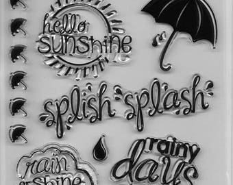 Forever In Time Clear Acrylic Stamp Set  --  NEW -- Sunny with Showers (#2408)