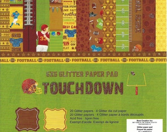 6 x 6 Glitter Paper Pad  ~~  Touchdown  ~~  Football  ~~ Double sided paper  ~~  NEW  (#065)
