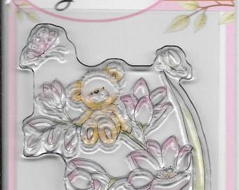 Wild Rose Studio Clear Stamp -- NEW -- Bear On Flower -- (#2158)