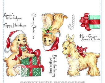 Whimsy Stamps --   Christmas Spaniels Set  -- NEW -- (#2946)