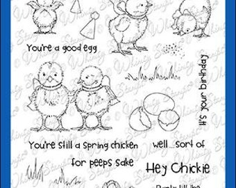 Whimsy Stamps --    Spring Chickens   -- NEW  -- (#3598)