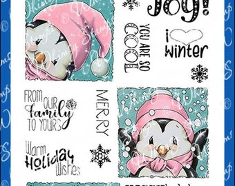 Whimsy Stamps --  Penguin Holiday Squares -- NEW  -- (#2772)