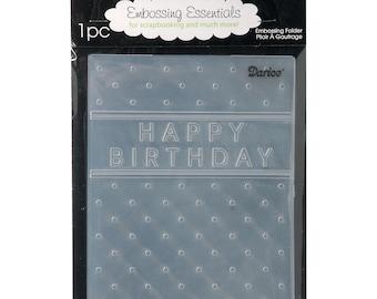Darice Embossing Folder  --  New  --  Birthday with Dots  --  (#3932)