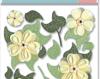 Jolee's Boutique --  Cream Buds -- 15 pieces -- self adhesive dimensional stickers -- NEW  --  (#357)