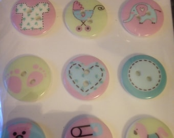 Forever In Time -- Baby Deco Buttons  -- 9 pieces --  Buttons  -- NEW  (#1147)