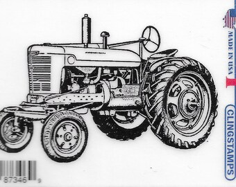 Deep Red Cling Stamps --   Vintage Farm Tractor    -- NEW -- (#3411)
