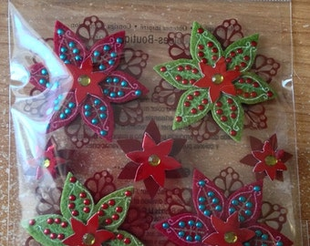 Jolee's Boutique -- Felted Holly Flowers -- NEW --  (#1862)