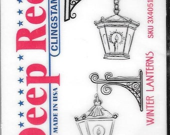 Deep Red Cling Stamps --  Winter Lanterns  -- NEW -- (#2910)