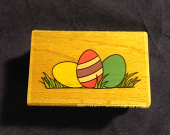 Easter Eggs in Grass Stamp --   NEW  -- Wood Mounted Rubber Stamp --  Studio G Brand --   (#382)