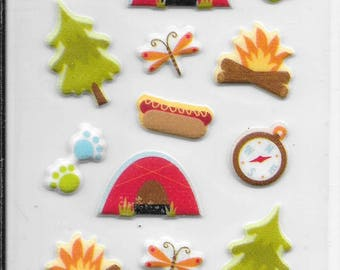 Momenta --  Mini Puffy Camping stickers -- NEW --  dimensional stickers  (#2439)