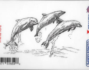 Deep Red Cling Stamps -- Dolphins  -- NEW -- (#2429)