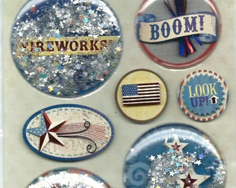 K & Company -- Americana Snow Globe Stickers -- NEW --   8 pieces  --  self adhesive dimensional stickers  (#1111)