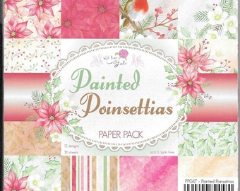 6 x 6 Paper Pad ~  Painted Poinsettias ~ Christmas ~ Wild Rose Studio ~ NEW(#2371)
