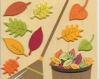 K & Company LLO  -- Raking the Leaves --  NEW --  dimensional stickers  (#1707)