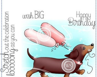 Whimsy Stamps --  Dachshund Balloon -- NEW -- (#2295) Crissy Armstrong Collection