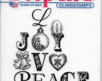 Deep Red Cling Stamps --  Joy Peace Love  -- NEW -- (#3400)