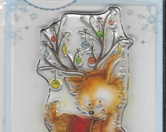 Wild Rose Studio Clear Stamp   --  NEW --    Reindeer with Baubles  --  (#1855)