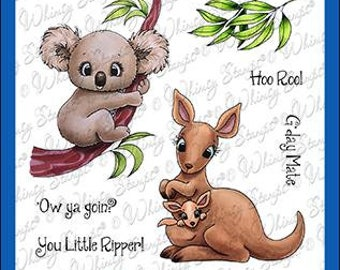 Whimsy Stamps --  Aussie Friends    -- NEW -- (#4013)