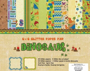 6 x 6 Glitter Paper Pad  ~~  Dinosaur  ~~   Double sided paper  ~~  NEW  (#2003)
