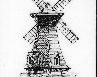 Deep Red Cling Stamps --     Windmill     -- NEW -- (#3846)
