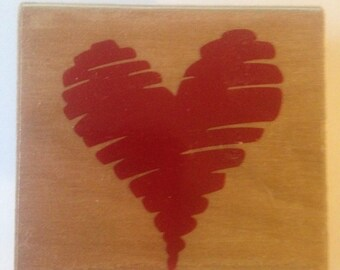 Scribble Heart Stamp  --   NEW  --  Wood Mounted Rubber Stamp --  Rubber Stampede Brand --   (#911)