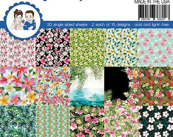 6 x 6 Paper Pad ~    Tropical Flowers    ~ Double sided NEW (#4310)