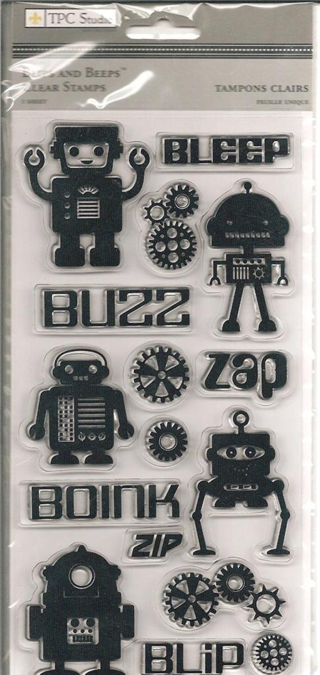 TPC Stucio Brand Clear Acrylic Stamp Set  --  NEW  --  Blips and Beeps!  (#833)