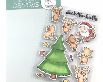 Gerda Steiner Designs --    Reindeer and a Tree   -- NEW  -- (#4306)
