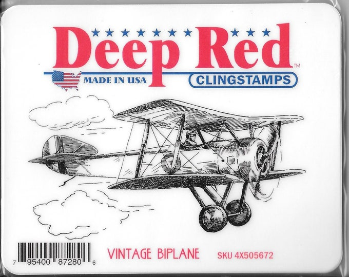 Featured listing image: Deep Red Cling Stamps -- Vintage Biplane -- NEW -- (#2715)