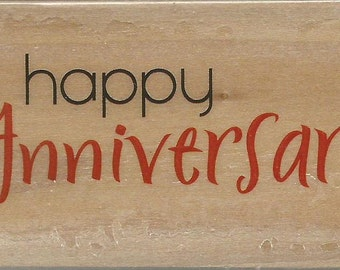 Happy Anniversary Stamp --   NEW  -- Wood Mounted Rubber Stamp --  Rubber Stampede Brand --   (#1170)