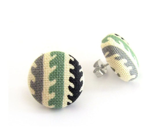 Tiny stud earrings - small button earrings - fabric covered earrings - sister, best friend gift - green beige ivory black gray grey