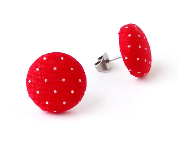 Red polka dot button earrings - retro fabric earrings - white dots stud earrings - pin up earrings - birthday gift for her - minimal earring