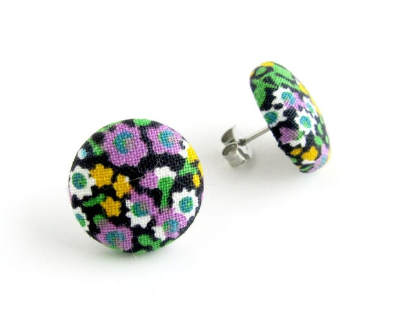 Vintage style button earrings - tiny floral fabric earrings - bright stud earrings - fall studs, friendship gift - purple green yellow black