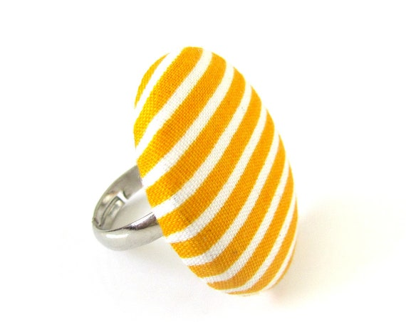 Large striped ring - yellow white stripes - big button ring - adjustable fabric covered ring - statement jewelry - gift ideas for women