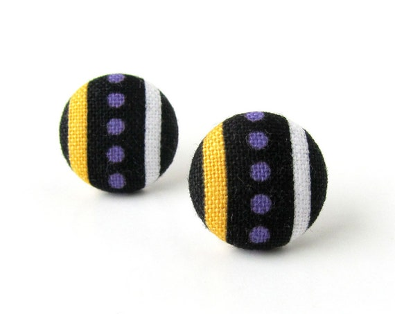 Funky fabric earrings - tiny button earrings - stripes jewelry - stud earrings purple yellow black - girlfriend sister mother wife gift