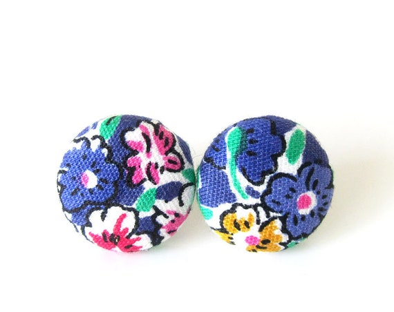 Purple earrings - colorful studs - flower earrings - tiny button earrings - small stud earrings - gift for girl - floral jewelry
