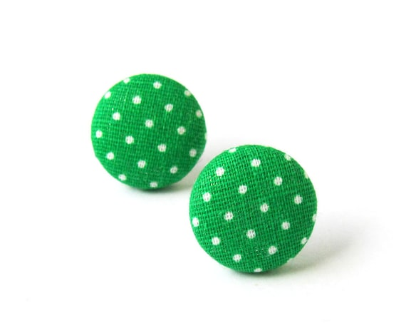 Small green earrings - light green polka dots button earrings - fabric stud earrings - pin up earrings - gift for her - minimalist jewelry