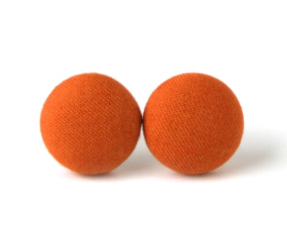 Solid orange stud earrings - simple fabric button earrings - tiny everyday jewelry - casual lightweight studs - fall earrings