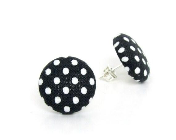 Black white fabric earrings - polka dot stud earrings - retro button earrings - pin up earrings - gift for sister, girlfriend, mother, wife