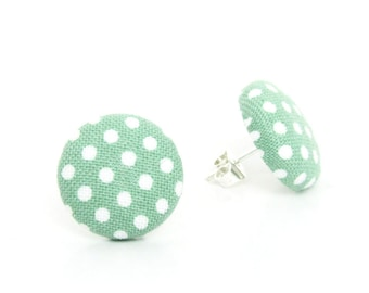 Pastel green earring - polka dot jewelry - mint earring - light green button earring - tiny stud earrings - pin up - retro gift for her