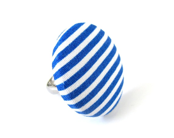 Large striped ring dark blue white stripes - big button ring fabric covered - statement jewelry - adjustable ring - royal blue navy