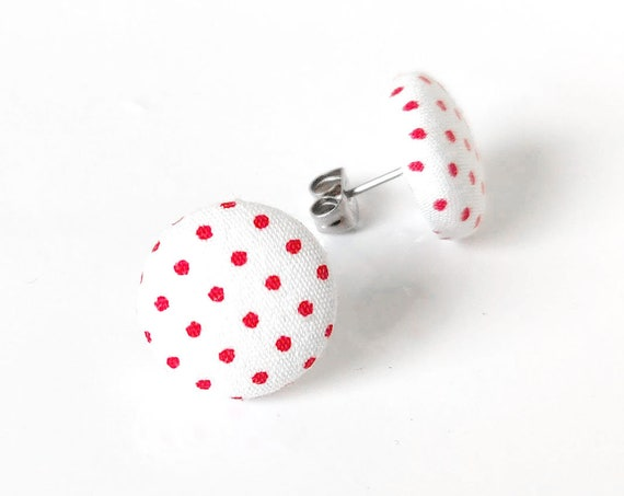 Pin up jewelry - rockabilly earrings - vintage inspired polka dot stud earrings - retro fabric studs - white red jewelry -  cute 50s gift