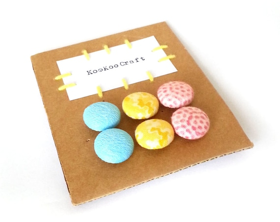 Set of small stud earrings - girl gift - tiny fabric covered button earrings - cute bright turquoise cyan blue yellow pink jewelry