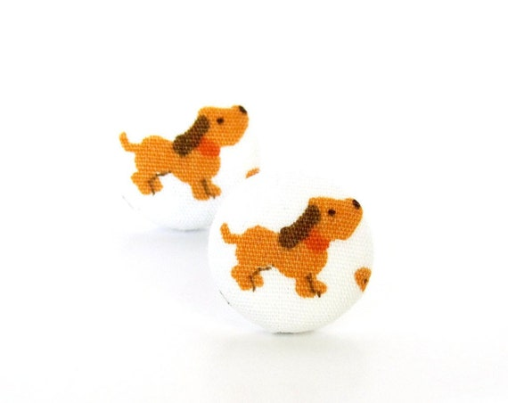 Tiny dog earrings - animal button earrings - kawaii fabric earrings - jewelry for children kids - dog lover gift - veterinarian gift